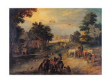Landscape with Riders and Wagons Giclee Print by Jan the Younger Bruegel