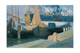 Boats in Sunlight Giclee Print by Boccioni Umberto