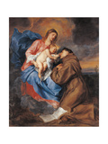 The Madonna with Child and St Anthony of Padua Lámina giclée por Anton Van dyck