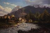 Mountain Town Giclee Print by Ercole Calvi