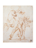 A Warrior Riding a Horse and Fighting Against Two Nude Standing Figures Giclee Print by Sanzio Raffaello