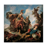 Herminia and Vafrino Find the Wounded Tancred Giclee Print by Giovanni Antonio Guardi