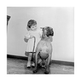 The Daughter of Duilio Loi with a Dog on a Leash Photographic Print