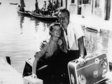 Rossano Brazzi and Katharine Hepburn on a Boat in the Film Summertime Photographic Print