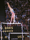 Mary Lou Retton on the Uneven Bars at the Los Angeles Olympic Games Photographic Print
