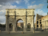 Arch of Hadrian and Constantine in Rome Photographic Print by Roman architecture