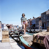 Sandie Shaw Poses Standing on An Old Boat Photographic Print