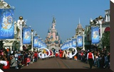Parade in the Main Street U.S.A. with Sleeping Beauty's Castle, Disneyland Resort Paris Stretched Canvas Print