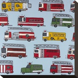 Fire Trucks Stretched Canvas Print by Brian Nash