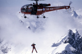Mike Bongiorno Climbing Down An Helicopter Photographic Print