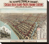 Elevated Trains in Chicago, c. 1897 Stretched Canvas Print by  Poole Bros.