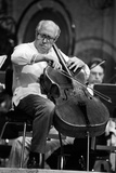 Slava Rostropovich Playing the Cello on a Stage Photographic Print