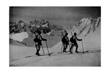 Skiers Patrol in Cadore Photographic Print