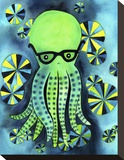 Geeky Octopus Stretched Canvas Print by  My Zoetrope