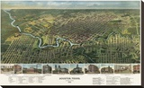 Bird's Eye Map of Houston, Texas, 1891 Stretched Canvas Print