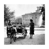 Little Girls on a Barrow at the Public Gardens Photographic Print