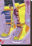Yellow Hi Tops Stretched Canvas Print by Sarah Beetson