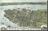 Bird's Eye View of the City of Charleston, South Carolina, 1872 Stretched Canvas Print by C.N. Drie