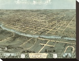 Bird's Eye View of Iowa City, Iowa, 1868 Stretched Canvas Print by A. Ruger