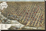 Bird's Eye View of Minneapolis, Minnesota, 1891 Stretched Canvas Print by Frank Pezolt