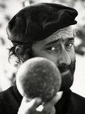 Lucio Dalla Is Holding a Bowl in His Hand Photographic Print