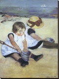 Children Playing on the Beach Stretched Canvas Print by Mary Cassatt