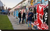 Remains of the Berlin Wall at the East Side Gallery in Berlin, Germany Stretched Canvas Print