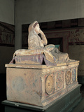 Terracotta Sarcophagus with Female Figure (Sarcophagus of Larthia Seianti) Photographic Print by  Unknown