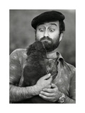 Lucio Dalla Grimacing at a Dog Photographic Print