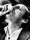 Renzo Arbore Drinking a Fresh Egg Photographic Print