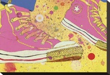 Pink Sneakers Stretched Canvas Print by Sarah Beetson