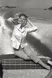 Sylva Koscina Poses on a Boat Photographic Print