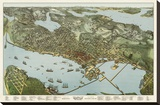 Map of Seattle, Washington, 1891 Stretched Canvas Print by A. Koch