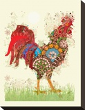 Rooster Stretched Canvas Print by Teofilo Olivieri