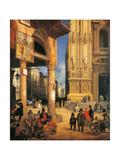 Market of Figini Giclee Print by Angelo Inganni