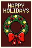 8 Bit Happy Holidays Wreath Plastic Sign Wall Sign