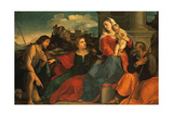 Holy Conversation - the Holy Family with St Catherine and St John the Baptist Reproduction procédé giclée par Palma the Elder