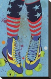 Rollerskates Stretched Canvas Print by Sarah Beetson