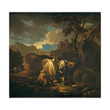 Cattle and Goats in a Landscape Giclee Print by (Close to) Philipp Peter Roos (Rosa from Tivoli)