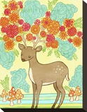 Deer Bloom Stretched Canvas Print by  My Zoetrope