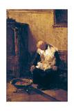 Cleric Stoking a Brazier (Chierico Che Attizza Un Braciere) Giclee Print by Lorenzo Delleani