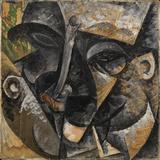 Dynamism of a Man's Head or Composition of a Woman's Head (Dinamismo Di Una Testa Di Uomo) Impression giclée par Umberto Boccioni