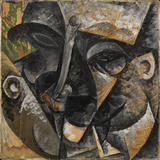 Dynamism of a Man's Head or Composition of a Woman's Head (Dinamismo Di Una Testa Di Uomo) Giclee Print by Umberto Boccioni
