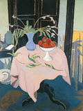 Pink Table with Fruitstand and Flowerpot Giclee Print by Francesco Menzio