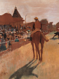 Racehorses in Front of the Tribunes Giclee Print by Edgar Degas