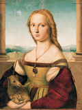 Portrait of a Young Woman (Lady with a Unicorn) Giclée-tryk af Raffaello Sanzio