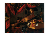 Musical Instruments with Portrait Giclee Print by Adler Salomon