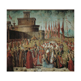 Legend of St Ursula. the Pilgrims Meet the Pope Under the Walls of Rome Giclee Print by Vittore Carpaccio