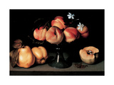 Crystal Fruit Stand with Peaches Giclee Print by  Quinces