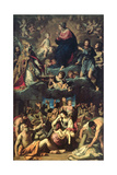 Madonna Della Ghiara with St Omobono, St Geminianus, St Rocco, St Sebastian and Scene of Pestilence Giclee Print by Ludovico Lana